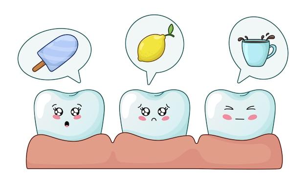 Kawaii dents avec emodji, soins dentaires, dentisterie Vecteur Premium