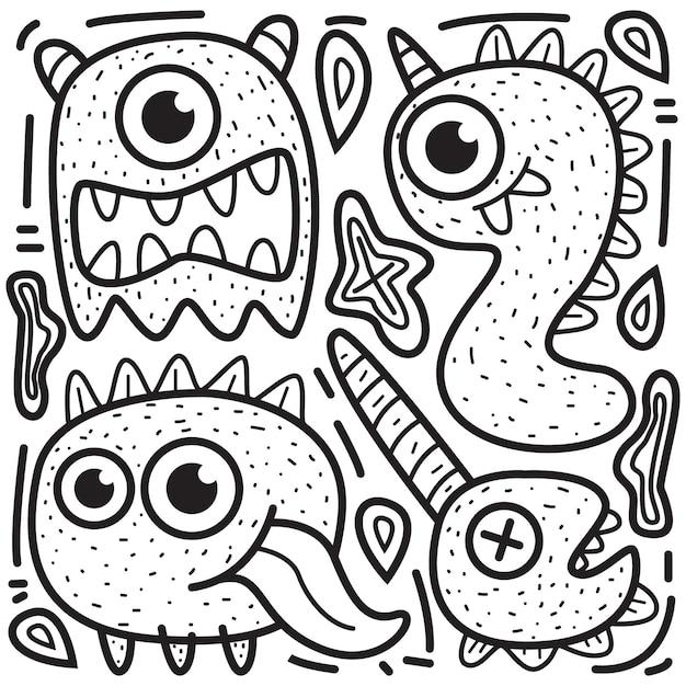 Kawaii Dessin Animé Doodle Design Illustration De Monstres à Colorier Vecteur Premium