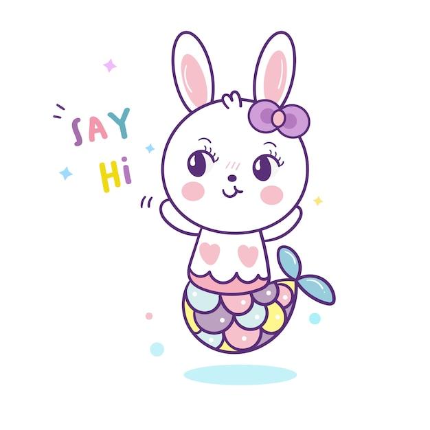 Kawaii de dessin animé mignon sirène de lapin Vecteur Premium