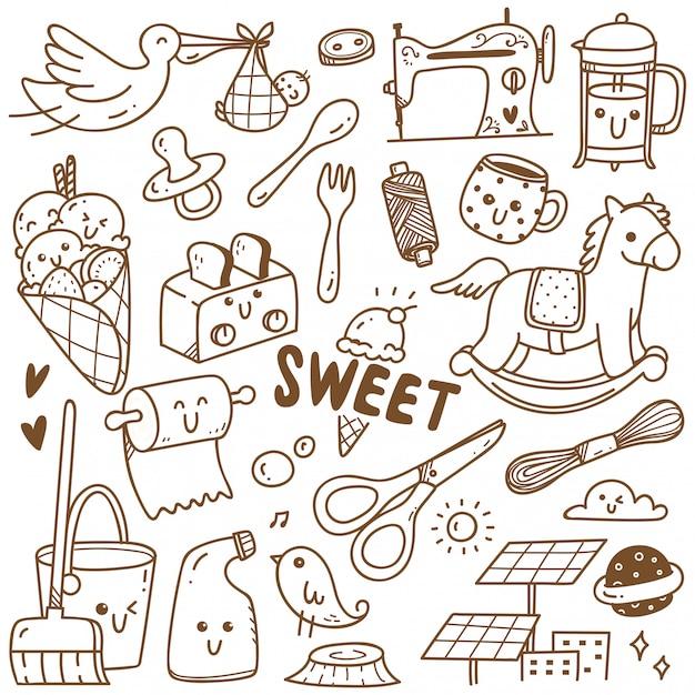 Kawaii doodle collection de dessins au trait, convient à la coloration Vecteur Premium