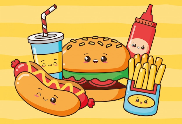 Kawaii fast food mignon fast-food hot-dog, hamburger, frites, boisson, illustration de ketchup Vecteur gratuit