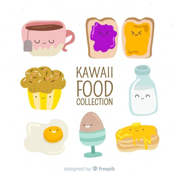 Kawaii food collection dessinée à la main Vecteur gratuit