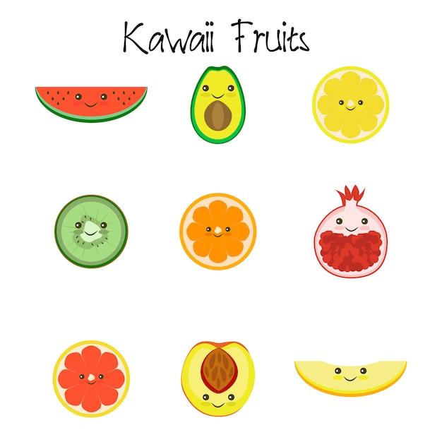 Kawaii fruit collection icône isolé sur fond blanc Vecteur Premium