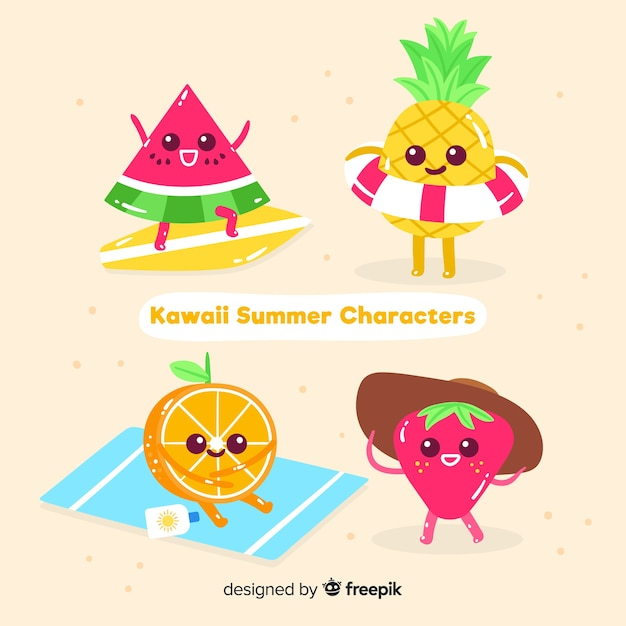 Kawaii fruits d'été set Vecteur gratuit