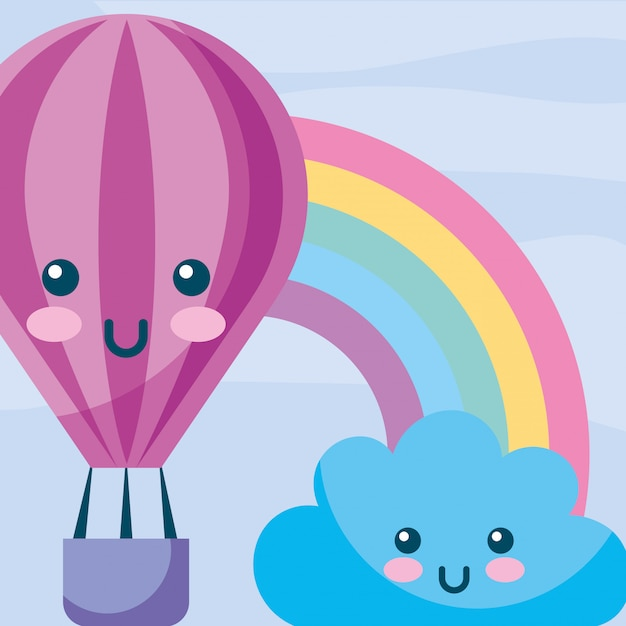 Kawaii hot air balloon nuage arc en ciel dessin animé Vecteur Premium