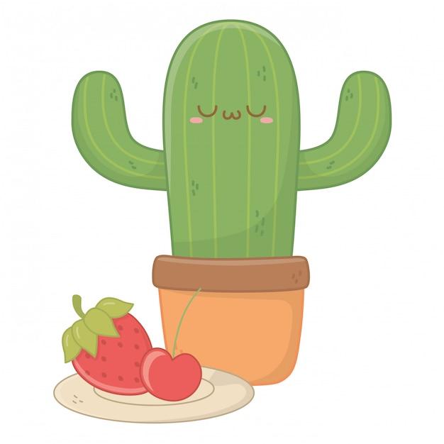 Kawaii isolé de dessin animé de cactus Vecteur Premium
