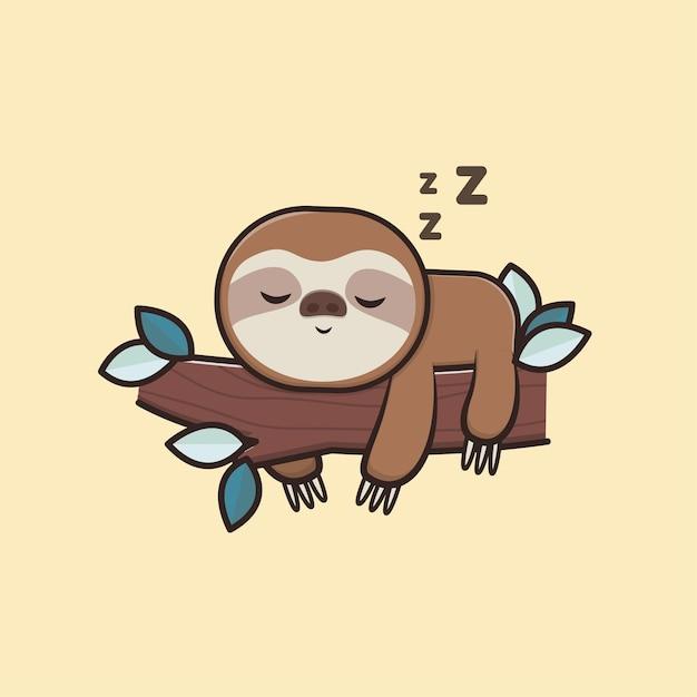 Kawaii Mignon Animal Faune Paresseux Paresseux Dormir Icône Mascotte Illustration Vecteur Premium