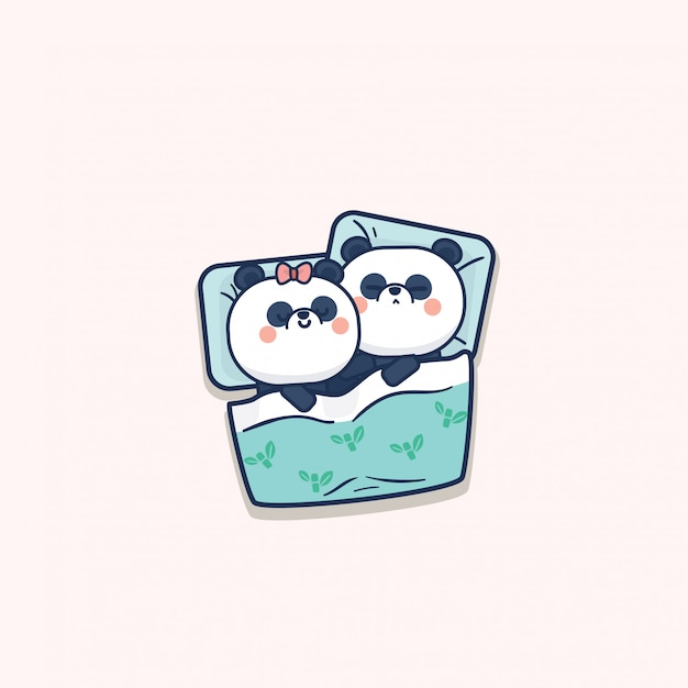 Kawaii Mignon Panda Couple Saint Valentin Vecteur Premium