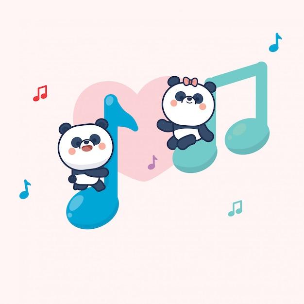 Kawaii Mignon Panda Couple Saint Valentin Vecteur Premium