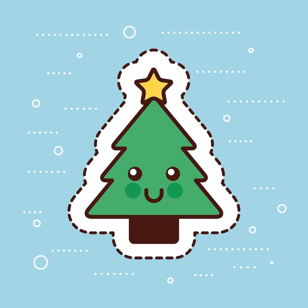 Kawaii Sapin De Noël Pin Star Dessin Animé De Décoration