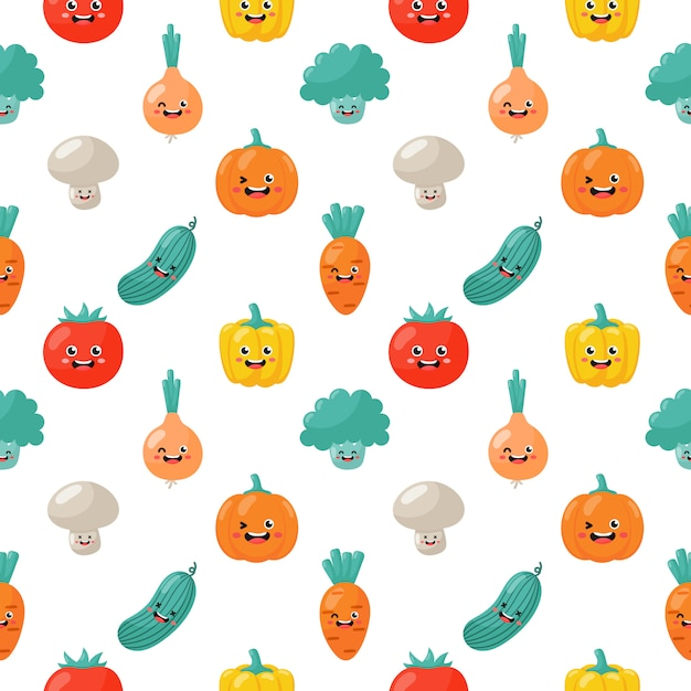 Kawaii Seamless Pattern Cute Funny Cartoon Légumes Personnages Isolés Vecteur Premium