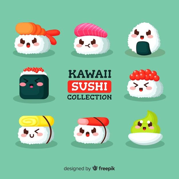 Kawaii Sushi Collectio Vecteur Gratuite