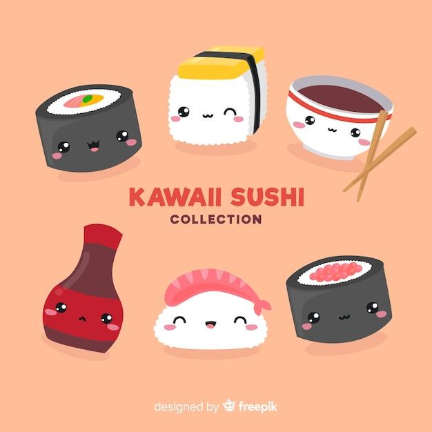 Kawaii sushi collectio Vecteur gratuit