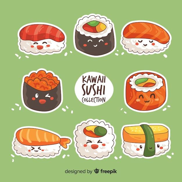 Kawaii Sushi Collectio Vecteur Premium