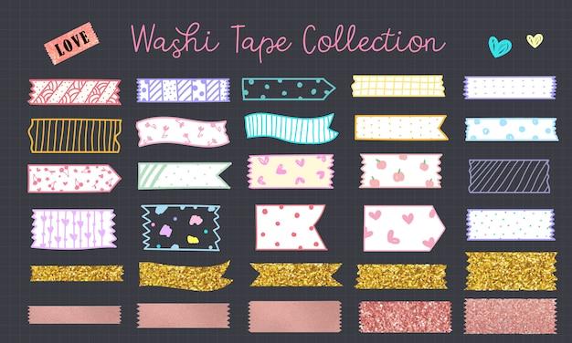 Kawaii Washi Tape Dessiné à La Main En Couleur Pastel Vecteur gratuit