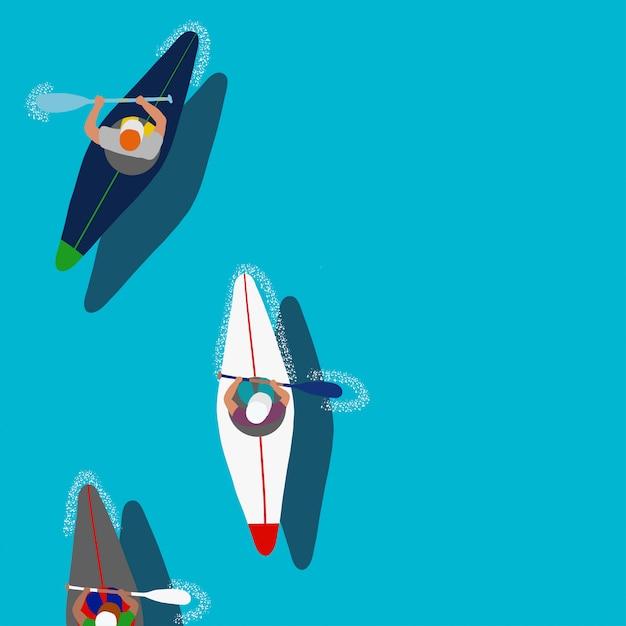 Kayak Sports Nautiques Vecteur Premium