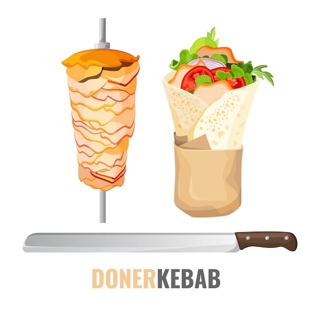 Kebab Avec Légumes Et Poulet Vecteur Premium