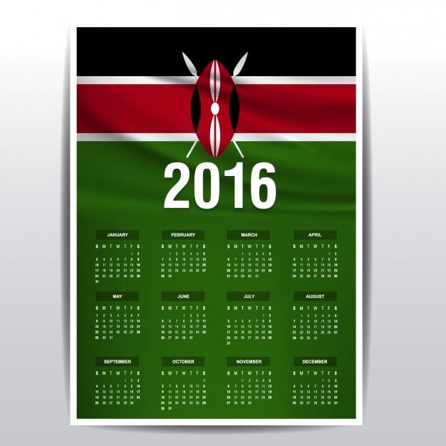 Kenya calendrier 2016 Vecteur gratuit
