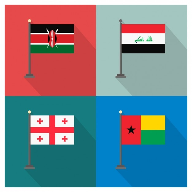 Kenya irak géorgie et la guinée-bissau Vecteur gratuit