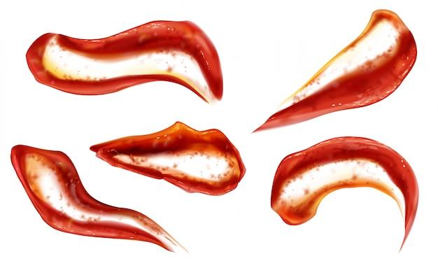 Ketchup éclaboussures Vue De Dessus, Blobs De Sauce Tomate Vecteur gratuit