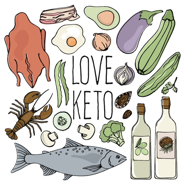 Keto shop alimentation saine low carb Vecteur Premium