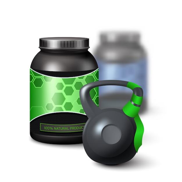 Kettlebell et récipient de protéine shake Vecteur gratuit