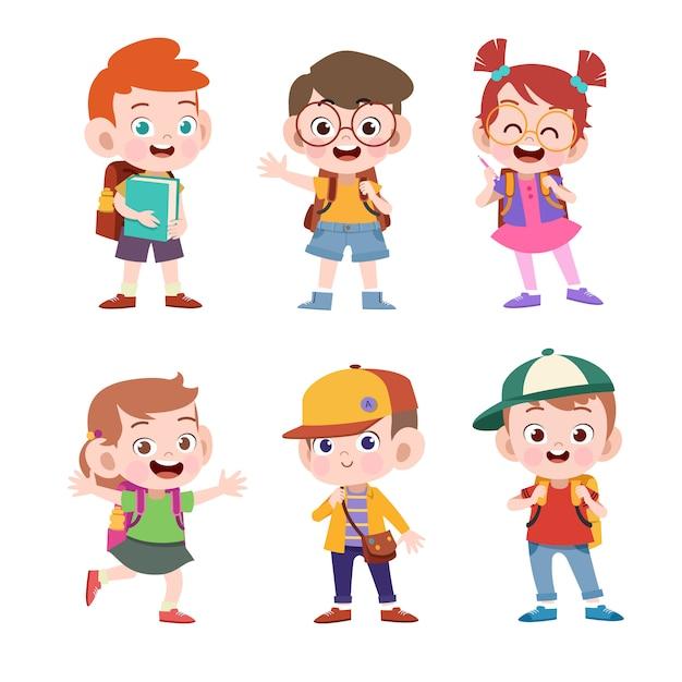 Kid aller à l'illustration vectorielle école isolé Vecteur Premium