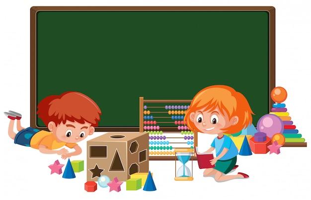 Kid avec bannière de jouet de maths Vecteur Premium