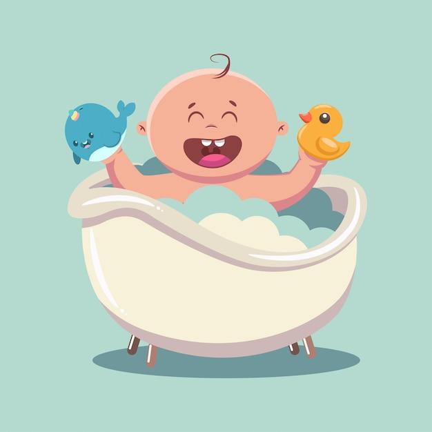 Kid dans le bain avec des bulles de savon et de la mousse Vecteur Premium