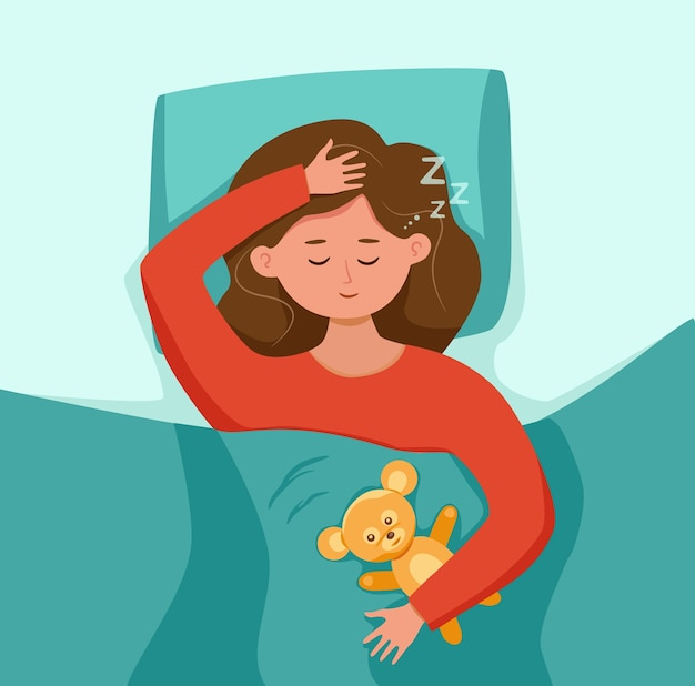 Kid Dormir Dans Son Lit La Nuit Illustration Vecteur Premium