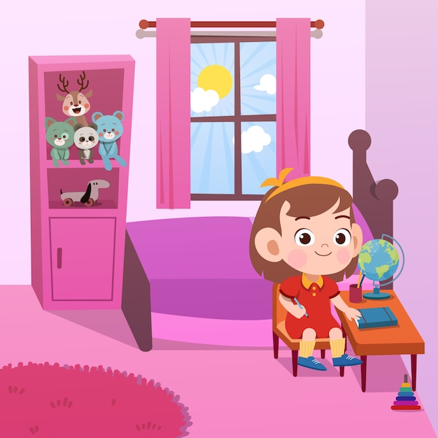 Kid étude en chambre vector illustration Vecteur Premium