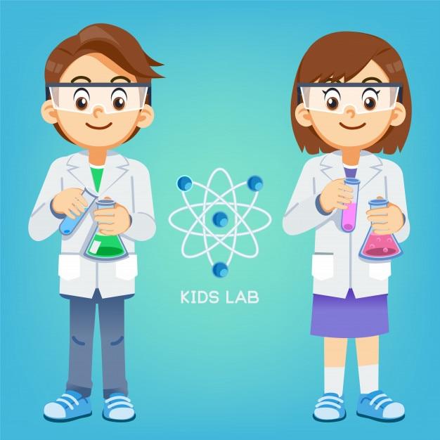 Kid expérimente la science en laboratoire. Vecteur Premium