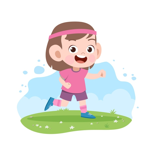 Kid fille courir illustration Vecteur Premium