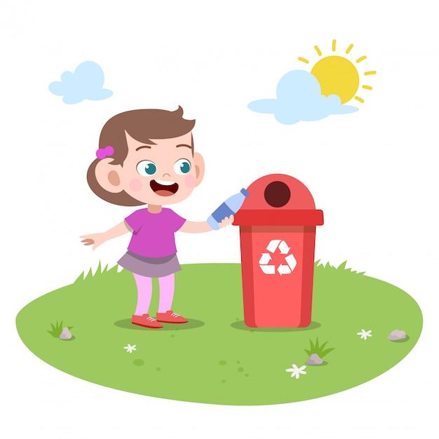 Kid fille jetant des ordures Vecteur Premium