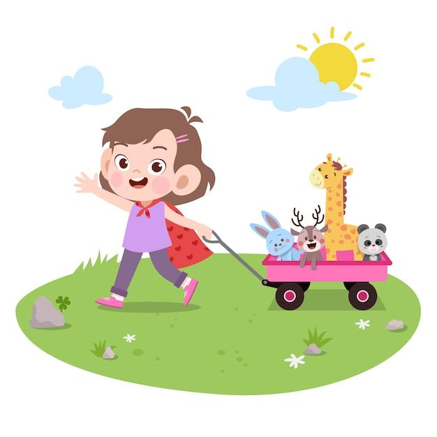 Kid fille jouer jouets vector illustration isolé Vecteur Premium