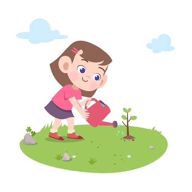 Kid Fille Plantant Illustration D'arbre Vecteur Premium