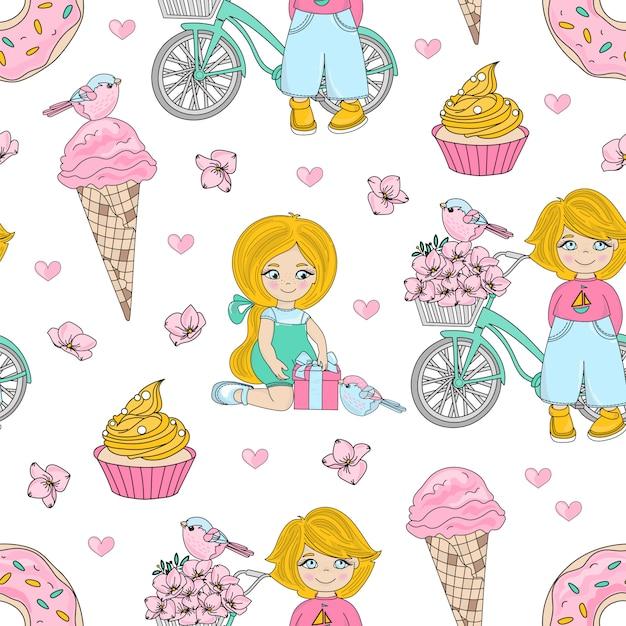 Kid party seamless pattern de valentine Vecteur Premium