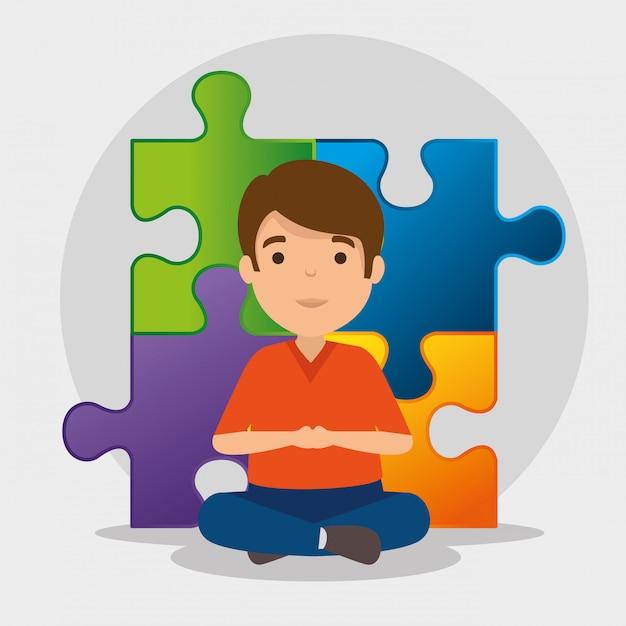 Kid Avec Des Puzzles à La Journée De Sensibilisation à L'autisme Vecteur gratuit