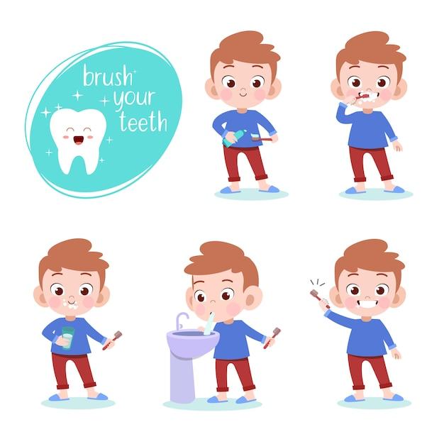 Kid se brosser les dents vector illustration isolée Vecteur Premium