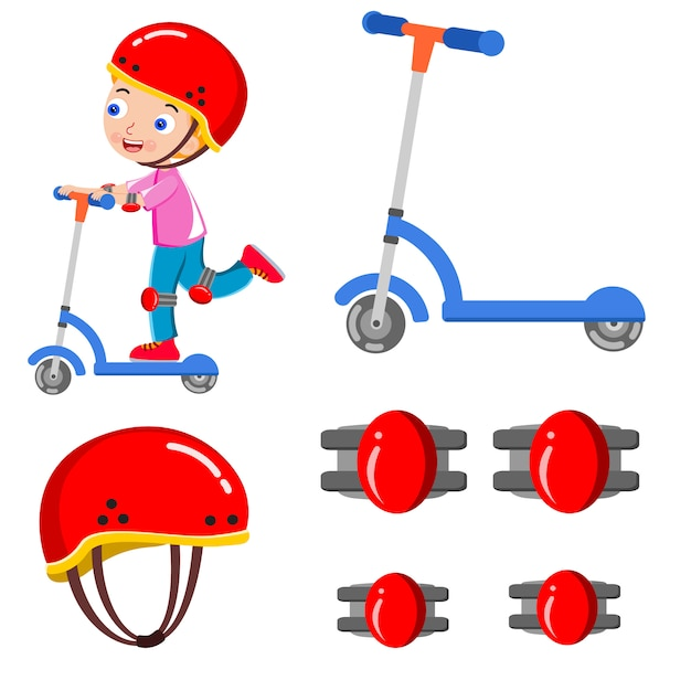 Kid skating scooter casque heureux vecteur Vecteur Premium