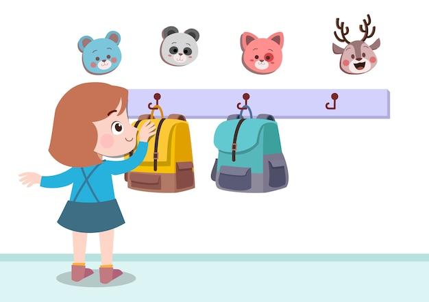 Kid suspendus illustration vectorielle de sac isolé Vecteur Premium