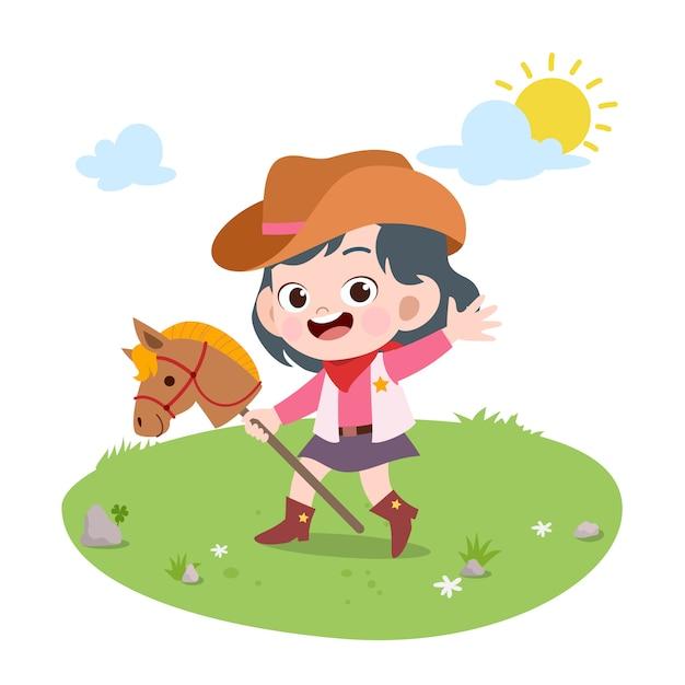 Kid vector illustration de cheval isolé Vecteur Premium