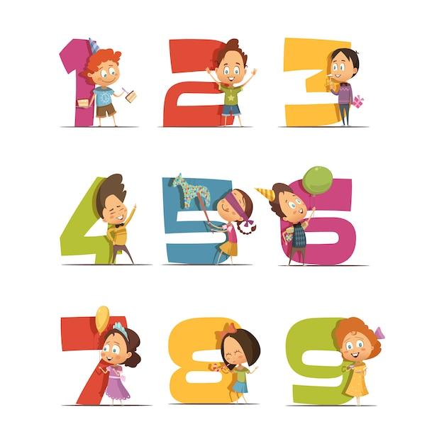 Kids party retro icons set with digits de un à neuf Vecteur gratuit