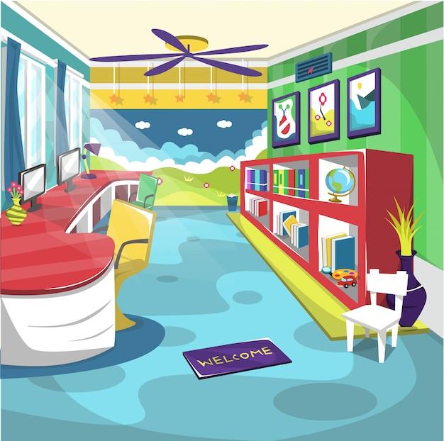 Kids school room school avec ventilateur de plafond et peinture murale Vecteur Premium