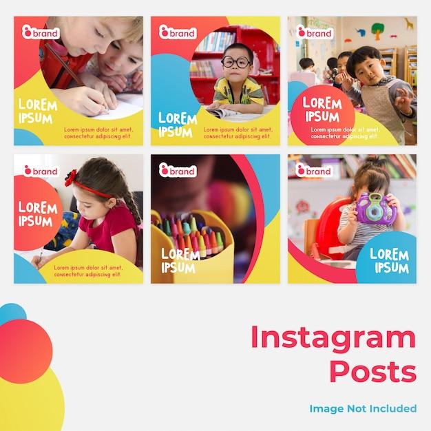 Kids social media instagram post Vecteur Premium