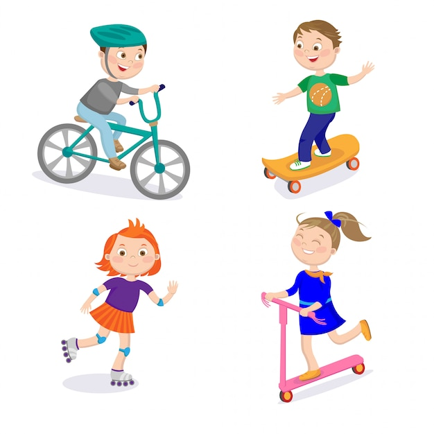 Kids sports personnages. course cycliste, planche à roulettes, roulettes et scooters Vecteur Premium