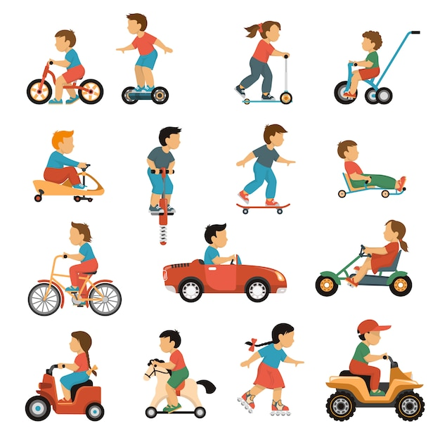 Kids transport icons set Vecteur gratuit