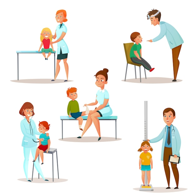 Kids visit a doctor icon set Vecteur gratuit