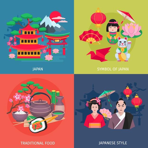 Kimono de style japonais et symboles de la cuisine traditionnelle 4 icônes plat carrés bannière colorée abstraite isol Vecteur gratuit