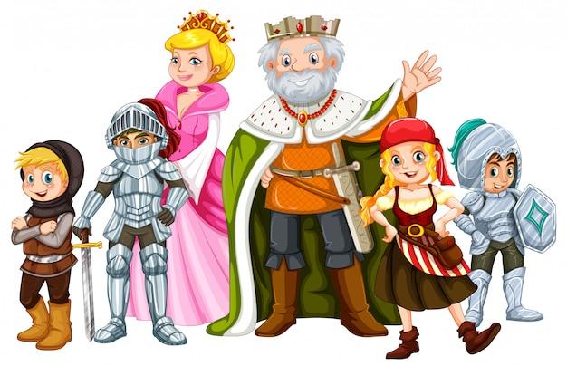 King et autres personnages de conte de fées Vecteur gratuit